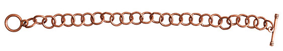 Nunn Design Antique Copper (plated) Loop Chain Charm Bracelet 8 1/2""
