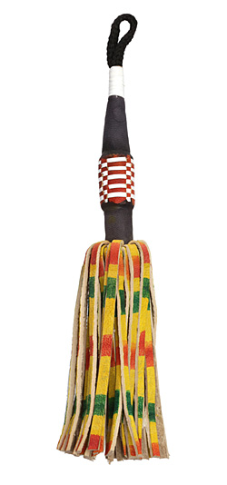 "Multi Color Rasta Henna-Dyed Leather Tassel 6-7"""