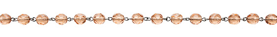 Czech Fire Polished Peach Faceted Round Silver (plated) Bead Chain