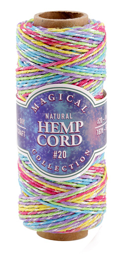 Rainbow & Metallic Silver Hemp Twine 20 lb, 187 ft