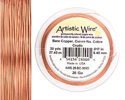 Artistic Wire Bare Copper 26 gauge, 30 yards