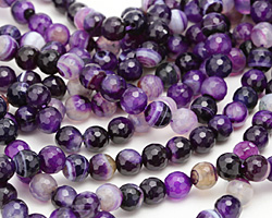 Purple Line Agate Faceted Round 8mm