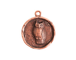 Nunn Design Antique Copper (plated) Small Round Owl Charm 21x24mm