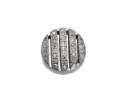 Silver (plated) CZ Micro Pave Coin 11mm