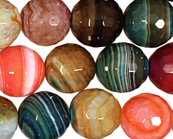 Bold Rainbow Fire Agate Faceted Round 14mm