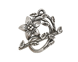 Antique Silver (plated) Flower & Vine Toggle Clasp 27x23mm, 28mm bar