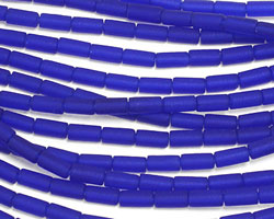 Royal Blue Recycled Glass Tube 8x4mm