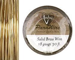 Vintaj Solid Brass Wire 18 gauge, 30ft.