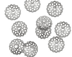 Silver (plated) Beaded Filigree Bead Cap 4x11mm