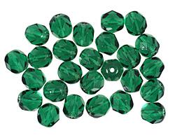 Czech Fire Polished Glass Green Emerald Round 6mm