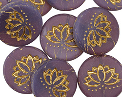 Czech Glass Matte Bronzed Amethyst Lotus Coin 18mm