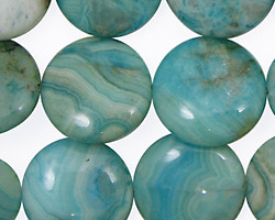 Larimar Blue Crazy Lace Puff Coin 18mm