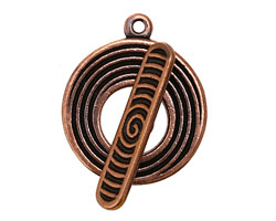 Antique Copper (plated) Eclipse Toggle Clasp 24x28mm, 28mm bar