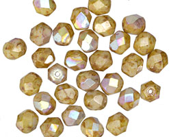 Czech Glass Bisque AB Fire Polished Round 6mm