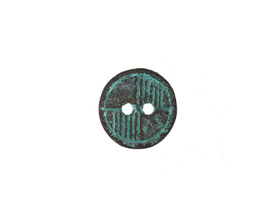 Greek Copper (plated) Patina Deco Button 14mm