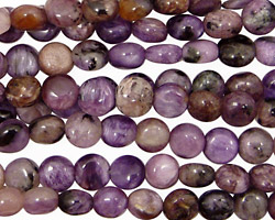 Charoite Puff Coin 6mm