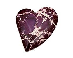Purple Impression Jasper Heart Pendant 35x44mm