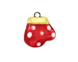 Jangles Ceramic Red Mitten Charm 16-20mm
