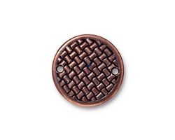 TierraCast Antique Copper (plated) Woven Disk Link 18mm