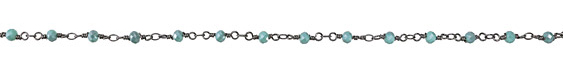 Zola Elements Sea Blue Crystal 4mm Gunmetal (plated) Bead Chain