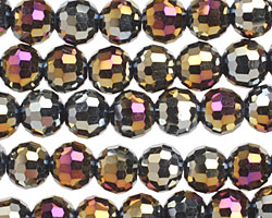 Metallic Peacock Hematite Crystal Faceted Round 8mm