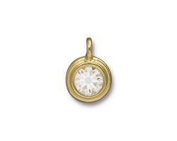 TierraCast Gold (plated) Stepped Bezel Charm w/ Crystal 12x17mm