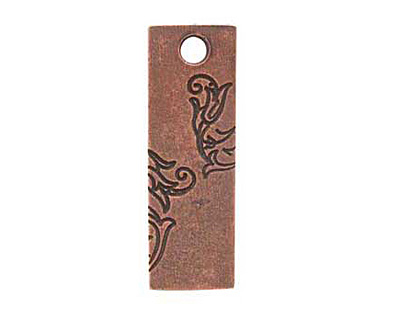 Nunn Design Antique Copper (plated) Large Rectangle Vine Tag 10x30mm