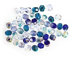 Czech Fire Polished Glass Blue Mix Round 4mm