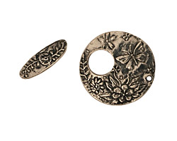 Green Girl Pewter Round Butterfly Toggle 20mm, 15mm bar