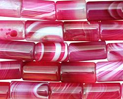 Ruby Line Agate Tube 10-12x6mm