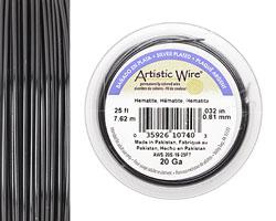 Artistic Wire Silver Plated Hematite 20 gauge, 25 feet