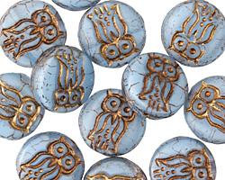 Czech Glass Bronzed Alice Blue Owl Coin 14mm