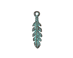 Greek Copper (plated) Patina Leafy Feather Charm 7x26mm