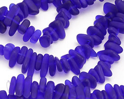 Royal Blue Recycled Glass Pebble Stick 3-6x7-18mm