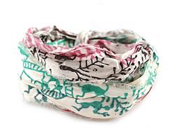 Community Party Print 100% Silk Sari Ribbon