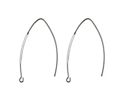 Silver (plated) Horse Eye Earwire 44x17mm