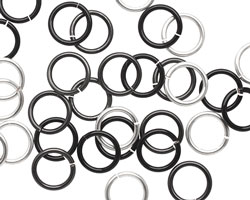 Shades of Grey Mix Enameled Copper Round Jump Ring 8mm, 18 gauge