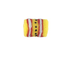 African Hand-Painted in Red/White/Cobalt on Yellow Powder Glass (Krobo) Bead 14-17x11-12mm