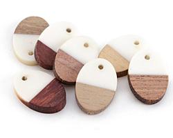 Wood & Alabaster Resin Oval Focal 16x23mm