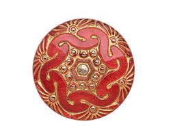 Czech Glass Fuchsia w/ Metallic Gold Whirlpool Button 27mm