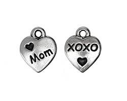 TierraCast Antique Silver (plated) Love Mom Charm 10x12mm