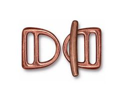 TierraCast Antique Copper (plated) 10mm Slotted D Ring Clasp Set 14x15mm, 21mm bar