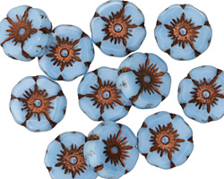 Czech Glass Alice Blue w/ Copper Hibiscus Coin 12mm
