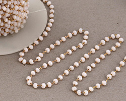 Coconut Crystal 3mm Delicate Brass Bead Chain