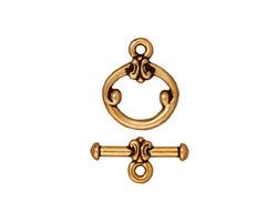 TierraCast Antique Gold (plated) Classic Toggle Clasp 15x12mm, 16mm Bar