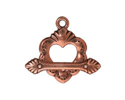 TierraCast Antique Copper (plated) Sacred Heart Toggle Clasp 18x25mm