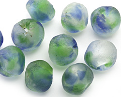 African Recycled Glass Earth Tumbled Round 10-14mm