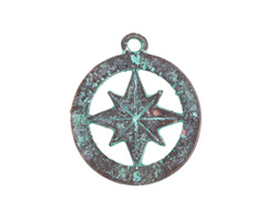 Greek Copper (plated) Patina Compass Charm 20x23mm