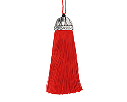 Zola Elements Red Thread Tassel w/ Antique Silver (plated) Lotus Tassel Cap 20x75mm