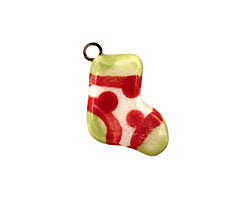 Jangles Ceramic White Stocking Charm 15x17mm